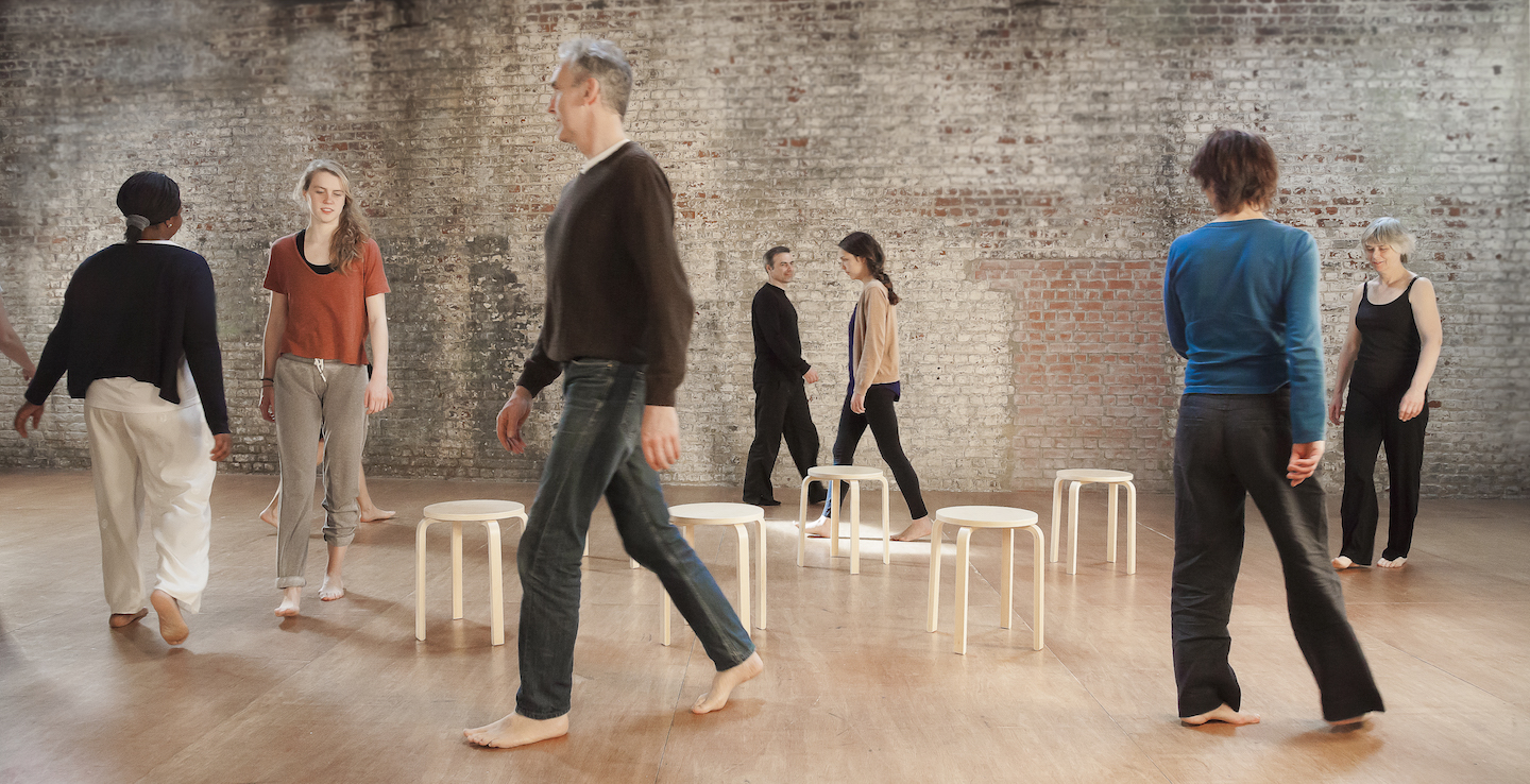 People walking during an Awareness Through Movement Lesson