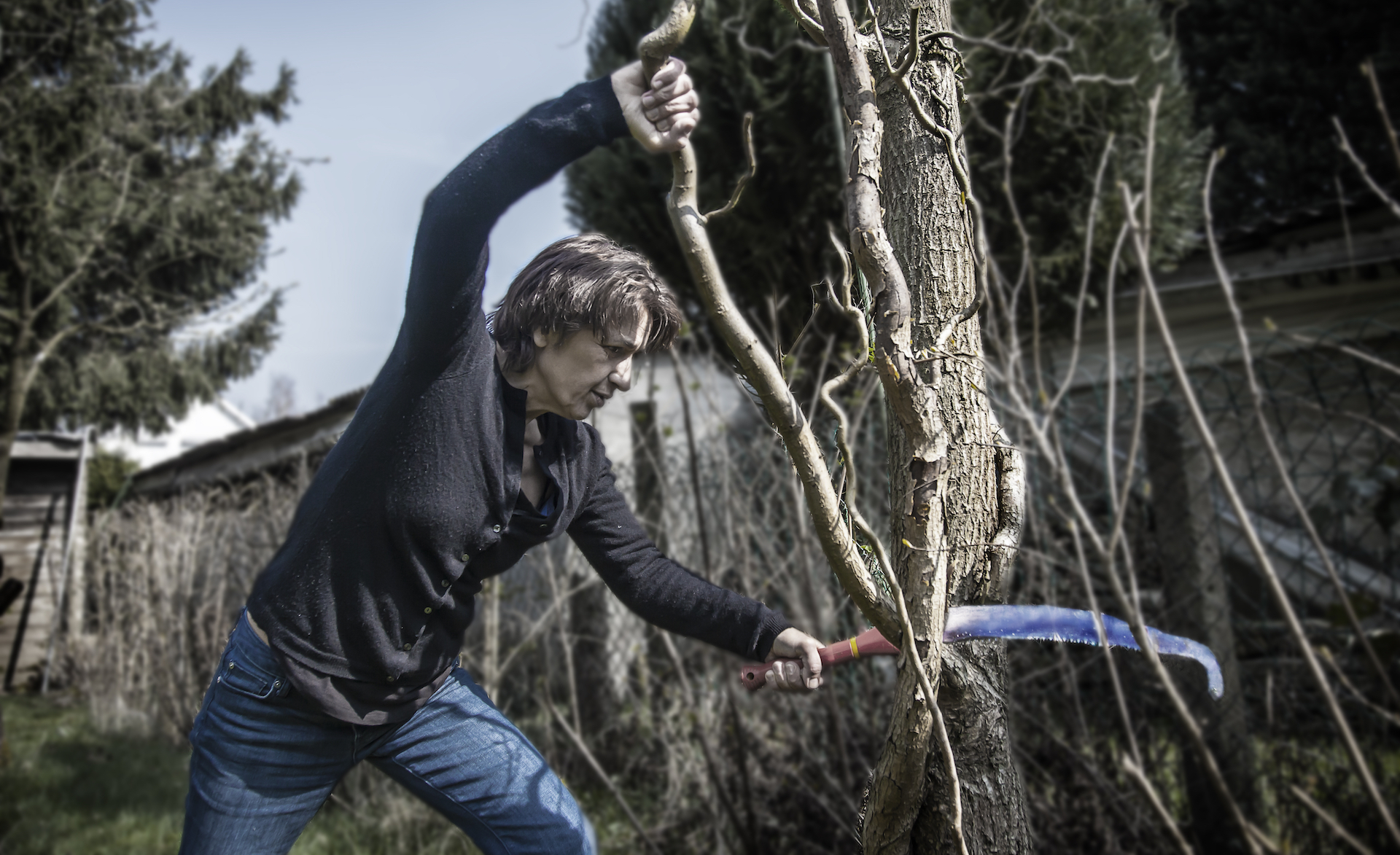 Woman saws a tree branch