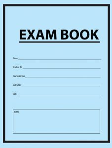 Blue exam book cover. Tests are useful to the learning process, it turns out.