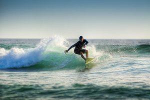 Surfer riding a wave.