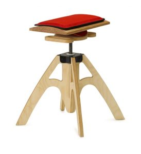 Alpha chair with red cushion. Designed for active sitting.