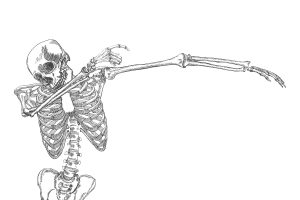 Human skeleton dancing DAB, perform dabbing move gesture, posing on white background.